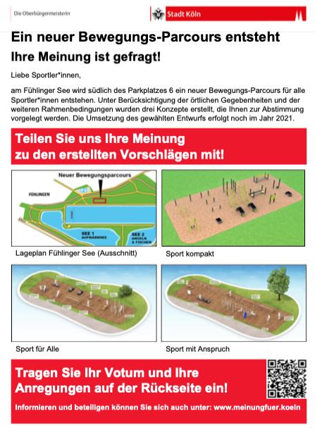 Flyer zur Abstimmung über den neuen Bewegungspark in Fühlingen