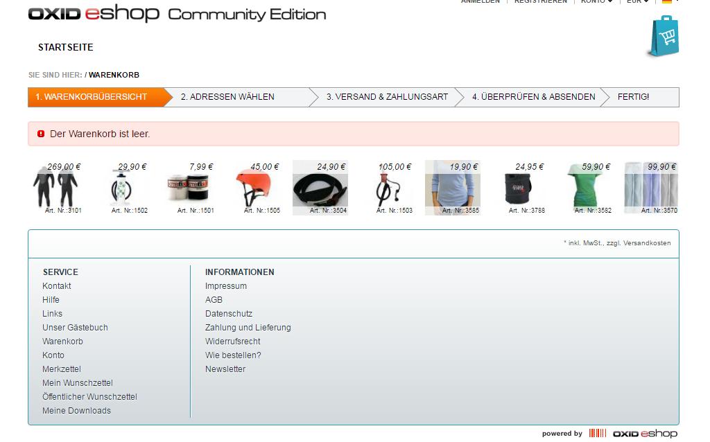 OXID Warenkorb Cross-Selling