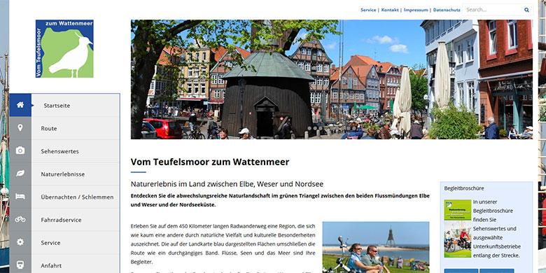 """Website für die AG Radwanderweg """"Vom Teufelsmoor zum Wattenmeer"""""""