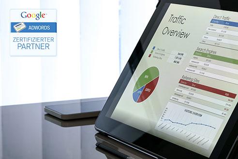 Tablet mit Overview von Google Ads